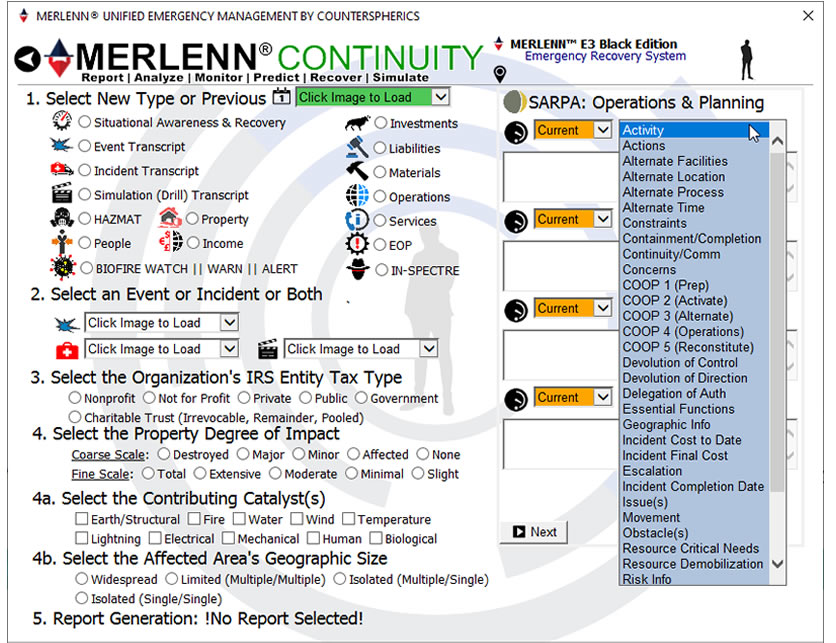 Counterspherics' MERLENN Safety Management, Resource Management, Logistics Management, Event Alerting, Tracking, Reporting, Compliance (OSHA)